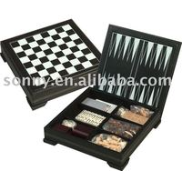 Travel 6 in 1 Leather Game Set