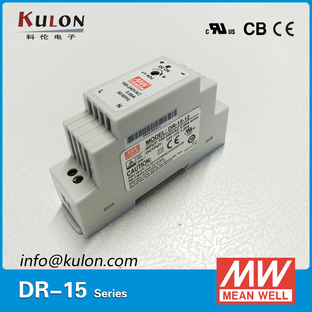 MeanWell DR-15-<strong>12</strong> AC to DC 12v 15w UL CE TUV Din Rail Power Supply