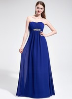 Empire Sweetheart Sweep Train Chiffon Prom Dresses With Ruffle Beading
