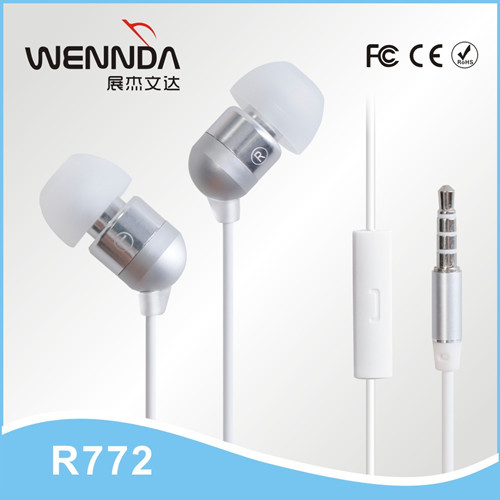 Hot selling headphone In-ear Metal Earphones factory derectly supply Wennda R772