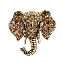 Fashion Rhinestone Elephant Retro Brooch Cartoon Animal Brooches For Men Women Same Paragraph Lapel pins broches mujer vintage