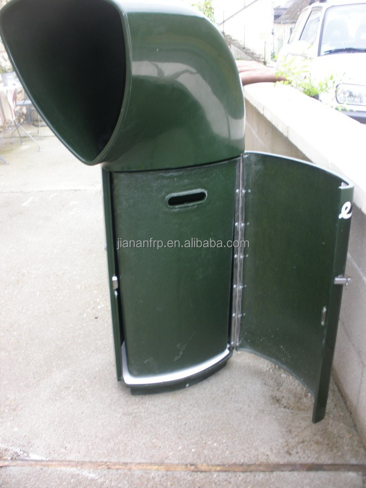 High quality glossy gel coat or painting finish fiberglass trash receptacle frp factory