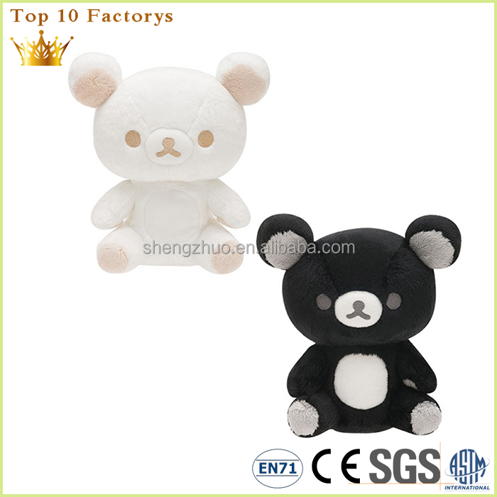 Personalized soft plush animals statue white black bear for kids