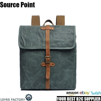 YD-2260 Top quality designer stylish waterproof teenager waxed canvas laptop bags backpack