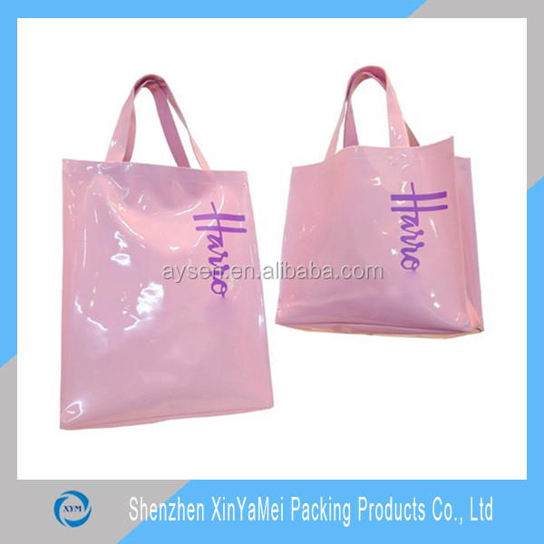 Custom made PVC vinyl shopping bag shiny shopper tote harrod customized bag high quality