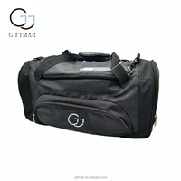 customized Large black polyester Duffel bag travel with multi compartments