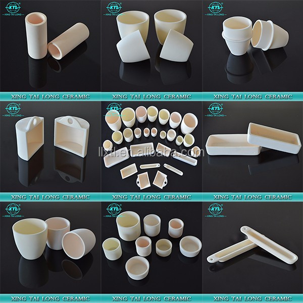 Ivory different shapes heat-resisting ceramic alumina crucible for melting gold
