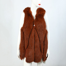 Windproof breathable sleeveless woman real fox fur vest
