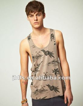 Wholesale high quality men's Vest With Hawaiian Print