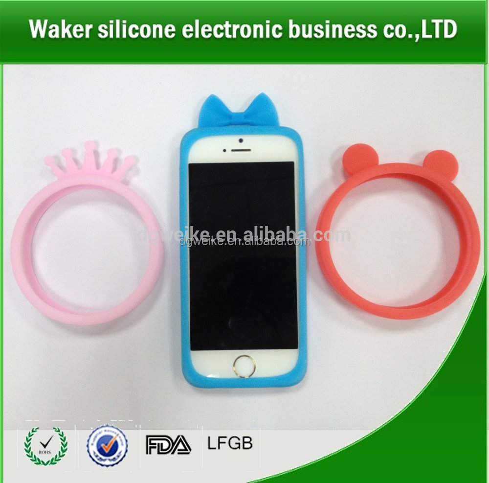 High flexible Silicone protective cases bracelets ring for cell phone silicone phone border case holder