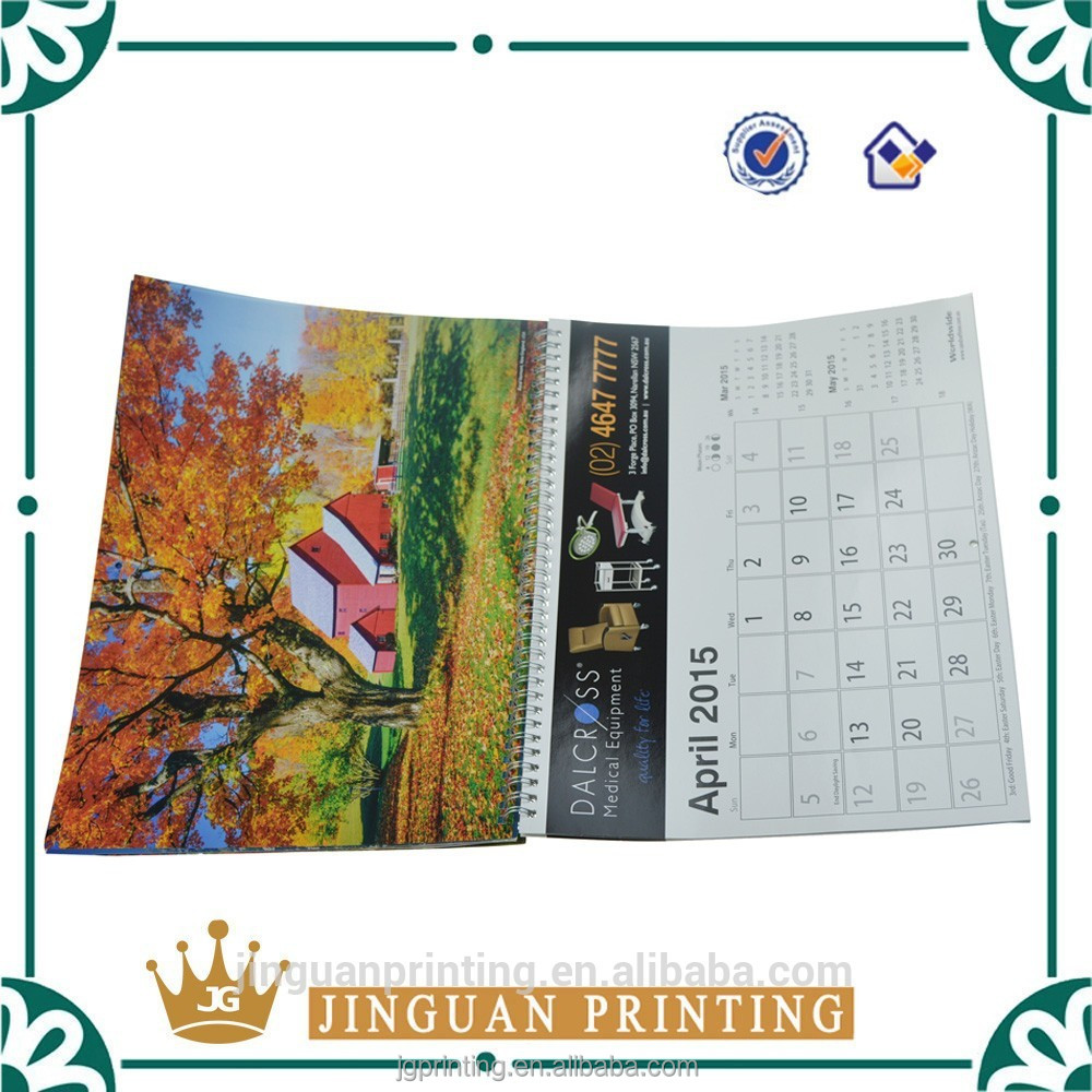 High quality offset printing custom wholesale laminated wall calendar