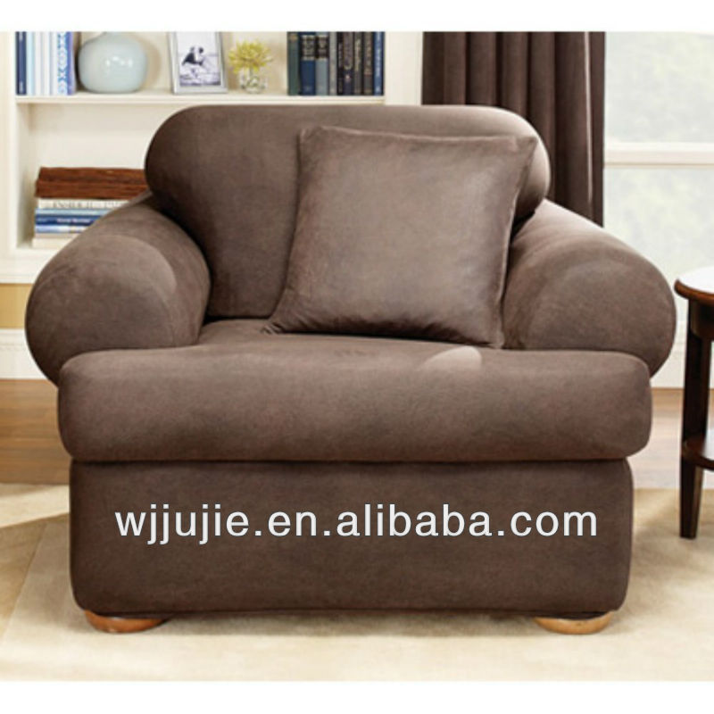 Stretch Leather T-Cushion Two Piece Chair Slipcover