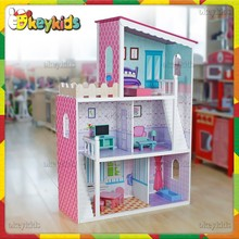 2016 wholesale kids wooden doll house, lovely baby wooden doll house, fashion children wooden doll house W06A137