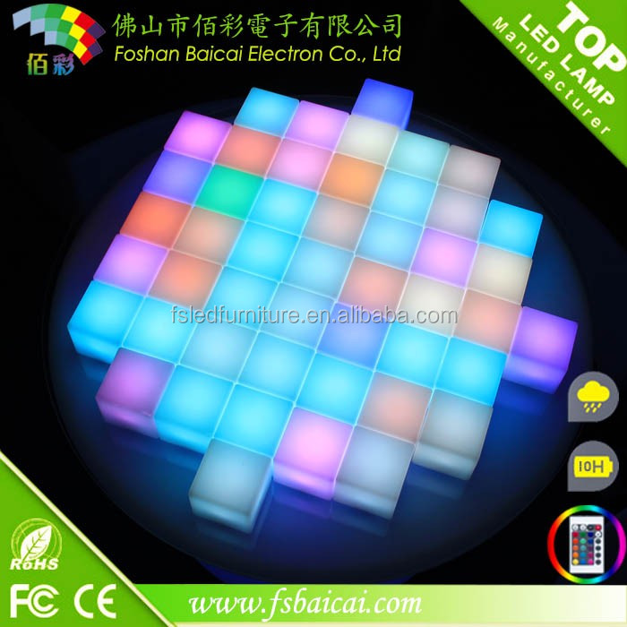 Colorful LED cube baroque bar chair for outdoor balcony decoration