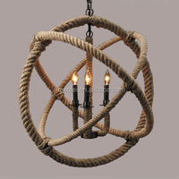 American Country Style Loft retro ball shade industrial pendant hemp rope Chandelier
