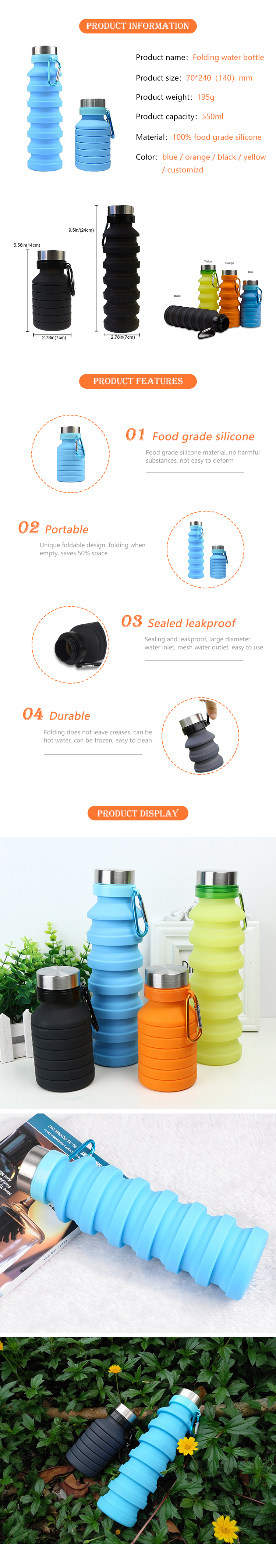 1000ML Amazon Foldable Camping Outdoor Silicone Sport Water Bottle