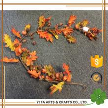 5' Fall Maple Leaf Garland With Pumpkins And Pinecones