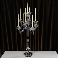 2016 9 arms floor standing crystal candle holder with hanging crystals