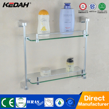 KD-6614 Modern shower accessory aluminium shelf holder with dual tier glass shelf for bathroom accessory