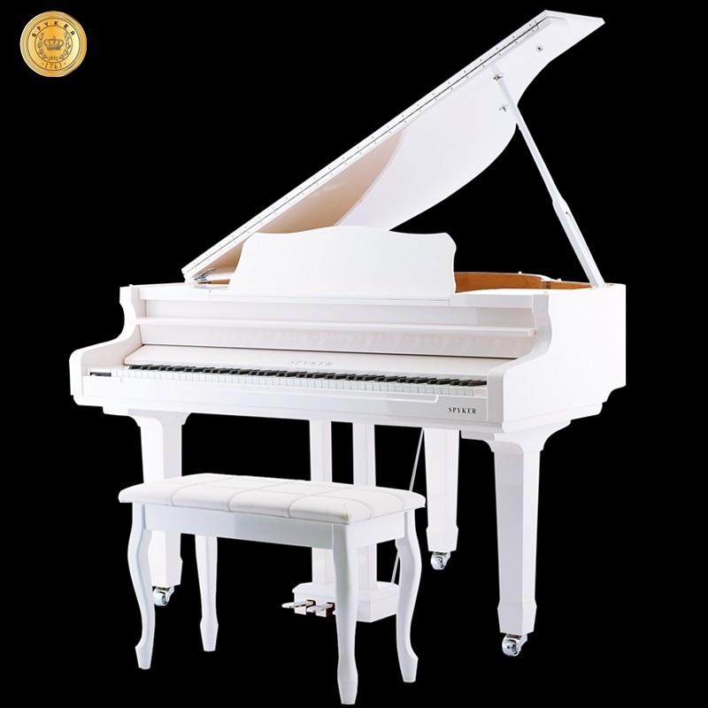 Spyker Grand Piano Digital 88 keys Midi Electric Piano 4-Foot, White Polish HD-W136