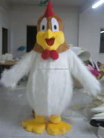 White fur turkey mascot costume for adults