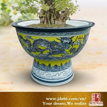 Fancy engraved ceramic planter porcelain planter pot with for Fancy flower pots