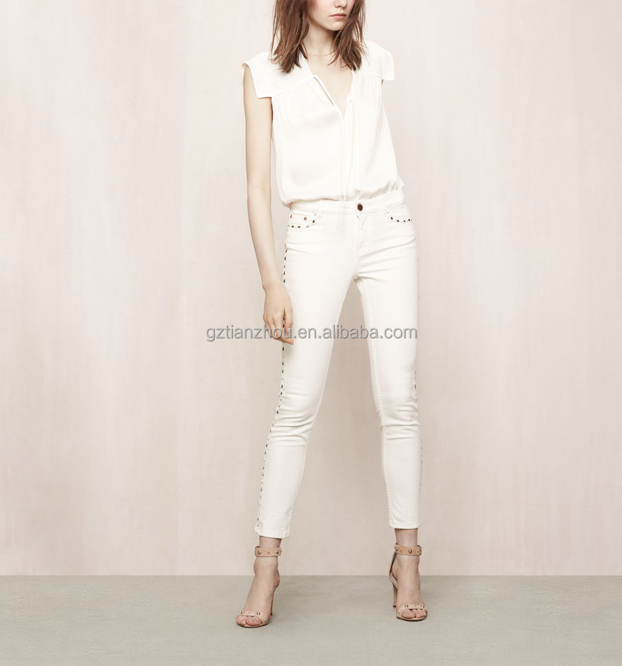 China suppliers good price wholesale clothing OEM stretch denim 5-pocket casual summer style slim jeans with rivets