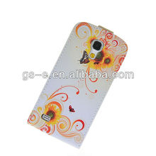 Top sale for Samsung Galaxy S4 i9500 butterfly flower design printing genuine leather material flip case with stand