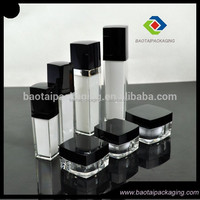 Classical square shape acrylic lotion bottle serum bottle and cream jar