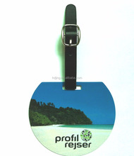 round hard plastic bag tag custom with strap (h-091)