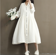 2018 spring decoration new forest renaissance cotton and linen loose long-sleeved dress
