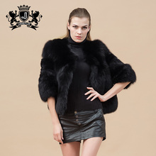 Foreign trade elegant ladies fox leather fur fluffy black coat with 3/4 sleeve