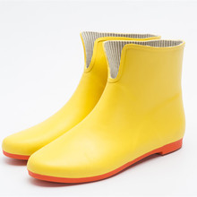 Slip on green fashion rubber ankle rain boots women garden shoes