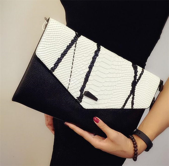 2017 Wholesale crocodile pattern cowhide leather envelope clutch bag