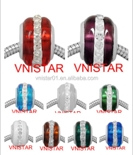 Vnistar stainless steel core colorful glass beads with stones PGB003, size in 9*14mm