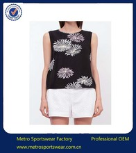 Women flower print silk top