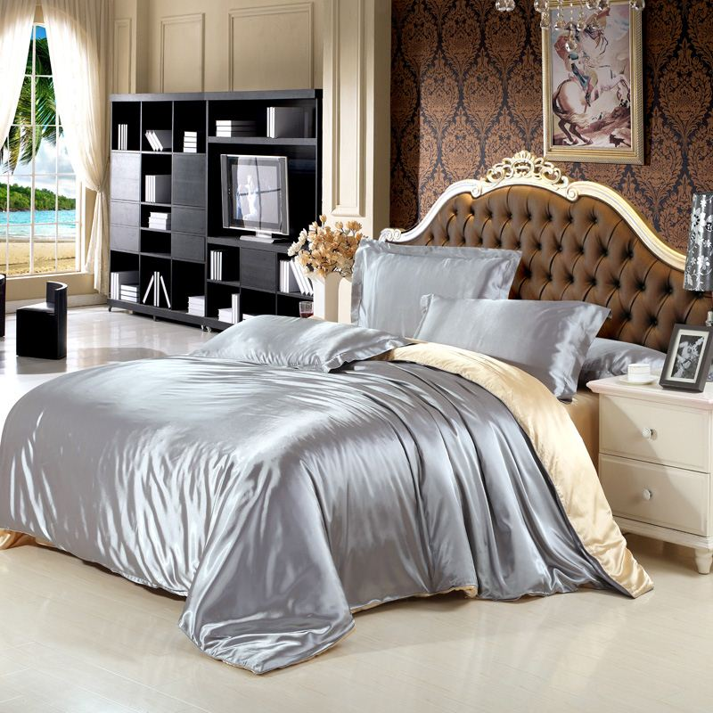 New arrive imetated silk bedding set home tetile bed linen set clothing of bed bedcloth soft silky bedding full queen king size
