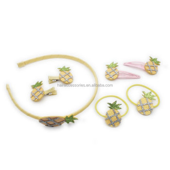 Glitter Pineapple Hair Kits Pineapple Hair Clips, Pineapple Hair Elastic, Pineapple Hair Bands Hair accessories Set for baby