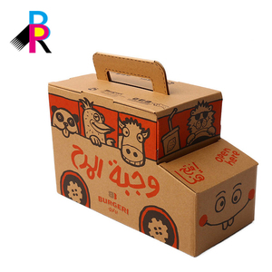 Creative Fancy Shape Kraft Paper Printing Take Away Food Delivery Packaging Container Takeout Box