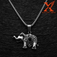 Stainless Steel Black Silver Thailand Elephant Black Agate Stone Pendant