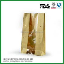 stand up brown kraft paper bag food packaging paper bags with window holes