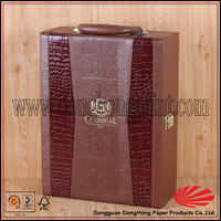Leather wrap mdf custom logo 3 bottle wooden wine box