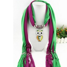 Wholesale Cheap Owl Pendant Bead Embellished Double Color Polyester Scarf With Jewelry