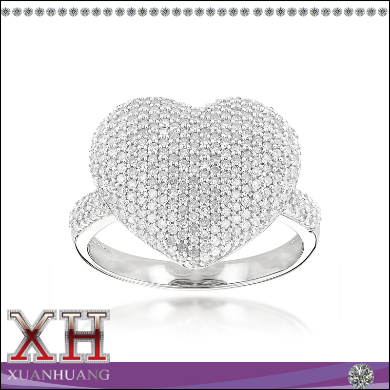 Xuan huang jewelry cubic zirconia sterling silver heart ring