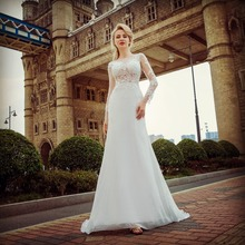 The Snow Queen Style Long Sleeve Mermaid Tail Sexy Lace Wedding Dress