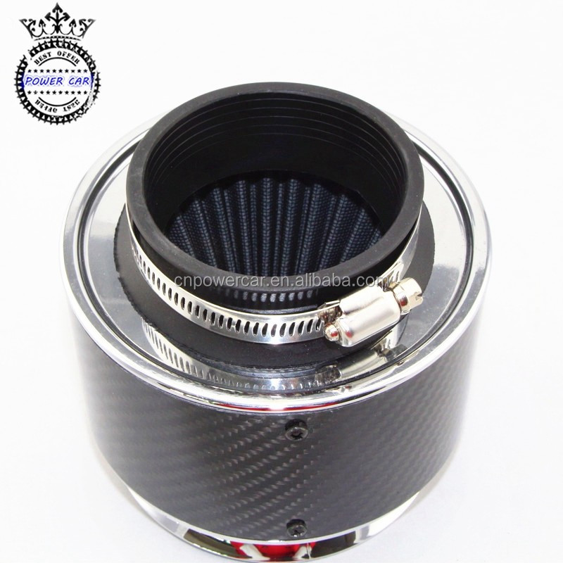 Black Universal Performance Carbon Fiber Racing Car Air Filter
