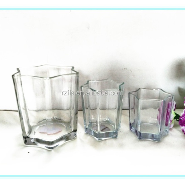 2017 Hot sale Clear star shaped glass candle holder with three different designs