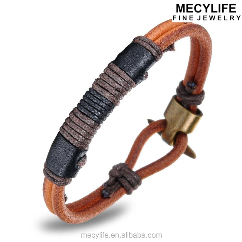 MECYLIFE Retro Jewelry Men's Bracelet Vintage Woven Leather Bracelet