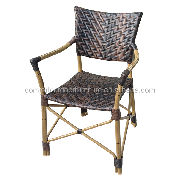 Natural Bamboo Look Finish Aluminum Frame Restaurant Chair with Rattan Seat