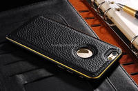 New arrival litchi grain aluminium metal bumper leather cover case for iphone 6 factory price
